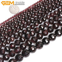 "Natural Dark Red Garnet Gemstone Faceted Round Beads For Jewellery Making 15"" UK"
