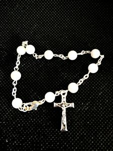 Mother of Pearl Bracelet Rosary/ Single-Decade Chaplet Rosary / Free booklet