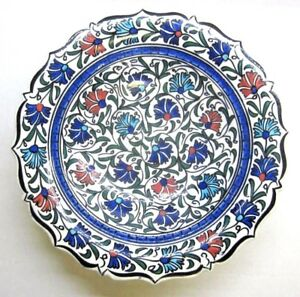 """Turkish Aramaic Pottery Bowl Traditional Ceramic Hand Painted 9-1/2"""" Floral Vtg"""