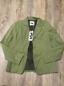 iota laundry karen millen jacket  green with olive butterfly lining pockets