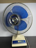 "Vintage Galaxy 12"" Oscillating 12-1 Blue Blades Fan 3 Speed Retro Works Great"