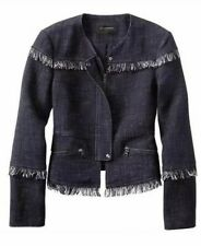BANANA REPUBLIC Jacket 4 BOUCLE FRINGE Tweed Navy Cotton Linen Lined Zippers NWT