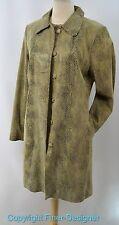 Liz Claiborne reptile Leather Jacket Coat Women's knee midi trench button coat M