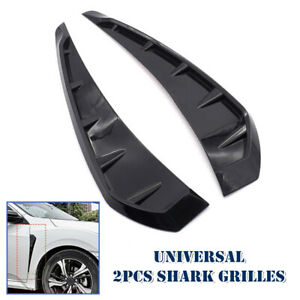 2x Universal Car Outline Glossy Black Side Door Fender Vent Air Wing Cover Trim