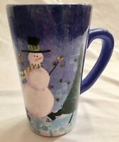 Sakura Snow Pals Snowman Tall Coffee Mug Tea Cup 16 oz Zulauf Design Stoneware