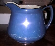 Carrollton China Iridescent Blue Cider Pitcher Black Handle Mother of Pearl
