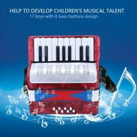 17 Key 8 Bass Piano Accordion Musical Instrument for Beginners Students Red NEW
