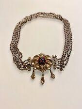 Kropfkette Silber mit Granat Besatz, 5 reihig, Halsweite 50, Schloss 3x4 cm,
