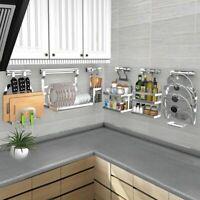 Kitchen Rack Wall Organizer Stainless Steel Shelf Dish Holder Utensil Dryer Tool