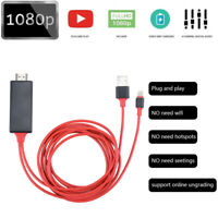 1080P 2M 8 Pin Lightning to HDMI TV AV Adapter Cable for iPhone 6 6S 7 8 Plus X