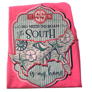 Simply Southern Graphic T Shirt XL Neon Pink Lighthouse Seashells Tee 50 / 50