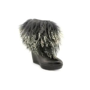 Stuart Weittzman  'Shaggy'  Ankle Bootie Pull-on  Black Leather made in Spain 6M
