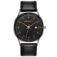 Infinity COM 01 Silver & Black Men's Minimalist Watch - Men Fashion Watch