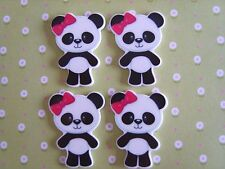 4 x Cute Panda Planar Flatback Resin Embellishment Crafts Decoden Cabochon UK