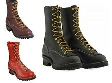 """Wesco Stock Jobmaster 10"""" Black Boots Lace-to-Toe 110100 Black/ Brown"""