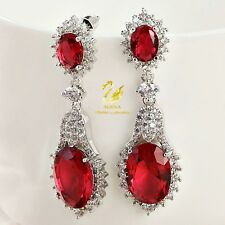 18K Gold GF Made With Swarovski Crystal Luxury Oval Drop Ruby Formal Earrings