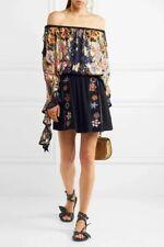 Chloe Navy Crepe Embroidered Mini Skirt, never worn, UK size 8