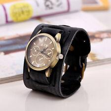 Men Vintage PU Leather Bracelet Cuff Watches Punk Hippy Wide Band Wristwatch