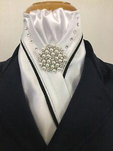 HHD Custom White Satin Stock Tie Silver & Black Swarovski Stock Pearl Pin Inc