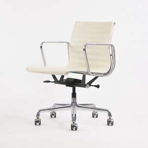 2012 Eames Herman Miller Low Aluminum Group Management Desk Chair White Leather