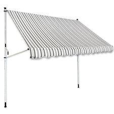 Klemm-Markise 3 x 1,5 m grau-weiß Balkonmarkise Spannmarkise Sonnenschutz