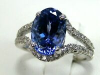 Tanzanite Ring Halo 18K White Gold Natural AAAA GIA Insured Certified Ap $10,954