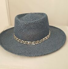 Straw Cowgirl Hat Blue Womens Sequined Band Dijon Collections Made in USA