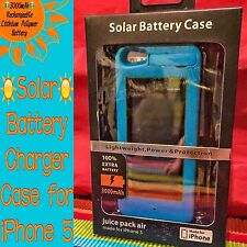 SOLAR BATTERY CASE 3000mAh for iPHONE 5 BRIGHT BLUE Stand+USB out