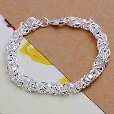 925 Sterling Silver Charm Chain Cuff Bangle Womens Fashion Bracelet DLH73