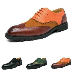 38-48 Brogue Mens Dress Formal Business Shoes Oxfords Pointy Toe Work Office L