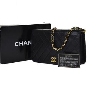 AUTHENTIC CHANEL CC MATELASSE CHAIN SHOULDER BAG LEATHER BLACK VINTAGE 662JD161