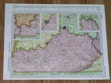 1958 ORIGINAL VINTAGE MAP OF KENTUCKY LOUISVILLE / VERSO KANSAS WICHITA