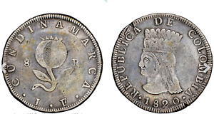 Colombia, Cundinamarca. Republic 8 Reales 1820 JF VF Details NGC