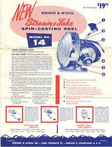 3 VTG 1961 WRIGHT & McGILL SPIN CASTING REELS ADVERTISING SHEETS! 14, 88A & 88SS