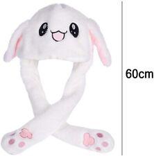 UK Seller Rabbit Hat Plush Animal Moving Ears Pressing with Airbag Pink/White