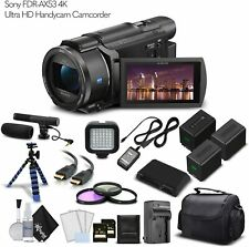 Sony FDR-AX53 4K Ultra HD Handycam Camcorder. 2 Extra Batteries + Case + 2 64GB