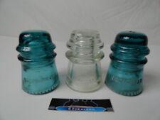 HEMINGRAY Glass Insulators Aqua-Green Clear Telephone Pole 16 3-Vintage