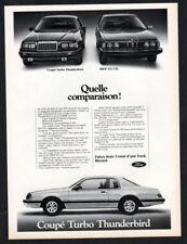 1983 FORD Thunderbird Coupe Turbo Vintage Original Print AD - BMW 633 CSi canada