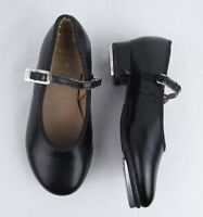 Bloch 9.5 M Little Girls Tap Shoes Black Non Leather Rubber Sole Buckle Strap