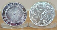 999 Silver Plated Tron TRX Crypto currency Novelty Coin With case