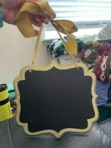 Amscan Rectangle Wooden Chalkboard Sign Decoration Gold Glitter New!!!