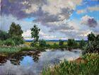 Original Russian oil on canvas USSR Socialist realism Painting Landscape 2017