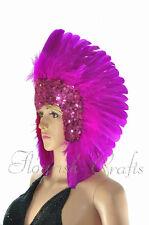 feather sequins las vegas dancer showgirl Hot pink headpiece headdress