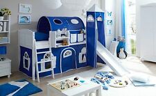 Lit mezzanine avec toboggan et tour EKKI Pin massif teinté blanc tissus Bleu-Bla