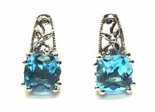 Sterling Silver Cushion Blue Aquamarine Textured Swirl Flower Stud Post Earrings