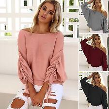 Damen Schulterfrei Pullover Pulli Strickjacke Sweater Sweatshirt Tops Oberteile