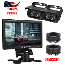 "Wired IR Rear View Backup 4PIN Camera Night Vision +7"" Monitor For RV Truck Kit"