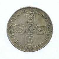 1697 William III .925 Sterling Silver 6d Sixpence Lot F3
