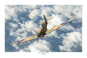 "WW2 RNZAF RAF Spitfire Battle Of Britain Aviation Art Photo Print - 8"" X 12"""