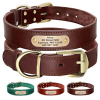 Soft Leather Custom Personalised Dog Collars Nameplate Engraved XXS XS S M L XL